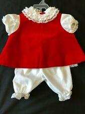 Vintage 3Pc  Frilly Toddle Tyke Red Pinafore Dress Lace Ruffle Baby Girl Xmas