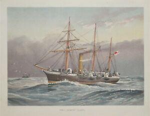 H.M.S.NYMPHE, SLOOP, R.Low original antique maritime ship print 1892