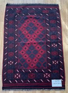 Oriental Afghan Handmade Kilim Area Rug Wool Natural Colours 100x149cm Vintage