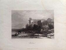 PAESTUM TEMPIO salerno campania Payne Universum  acquaforte originale 1845