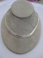 Estate Sterling Silver Scalloped Collar Necklace Flexible 17 inches Diamond Cut