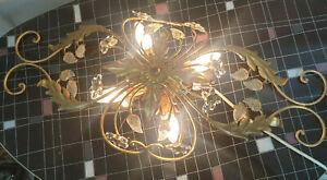 4 fl. Kronleuchter Deckenlampe florentiner Glasblüten floral