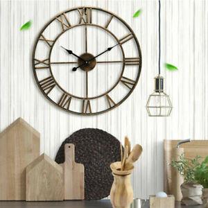 Indoor Large Wall Clock Big Roman Numerals Giant Open Face Metal Clocks