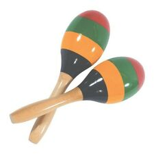 More details for pair maracas wooden shaker percussion large 25cm full size painted wood