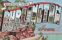 "*Iowa Postcard-""Greetings From Burlington"""