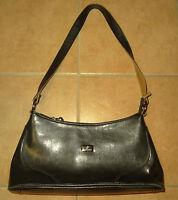 schwarze Handtasche DENNIS PARROT Henkel-Tasche Schultertasche schwarz-braun