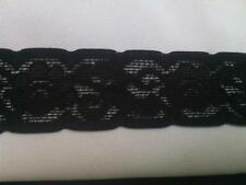 "2 yards of black scalloped  stretch lace trim 1 1/4"" w S2-7"
