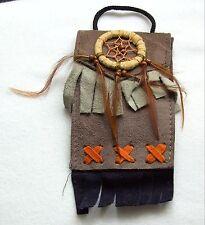 Brustbeutel braun 238 Halskette Dreamcatcher schwarz Leder Traumfänger necklace