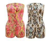 Ladies Womens Tie Dye Printed Strapless Boobtube Hotpant Jumpsuit Playsuit 6-14