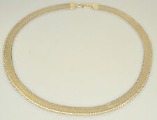 "MILOR 18"" REVERSIBLE STERLING SILVER FLAT OMEGA NECKLACE FROM ITALY HERRINGBONE"