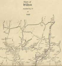 Wilton Canondale Gilbert Corners CT 1942 Map with Homeowners Names Shown