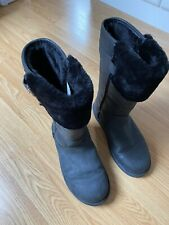 Genuine Ugg Boots, Black Leather and Sheepskin, UK Size 7.5, EU Size 40