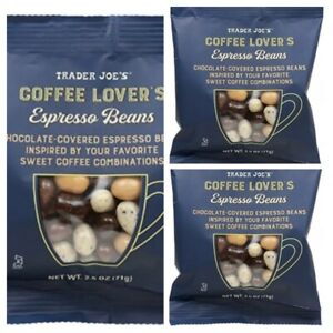 TRADER JOE'S BESTSELLER COFFEE LOVER'S Espresso Beans Chocolate Covered 3 Pack