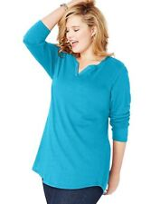 Just My Size Women's Turquoise Lightweight Split Neck Tunic Top Size 4X