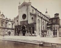 CARLO PONTI - Venice Italy Albumen Photograph of San Zanipolo 1860s, 34x27 cm