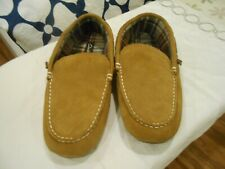 Clarks Moccasin Slippers Brown Leather Flannel Men Shoes Size 13 m