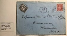 1943 Staines England Postage Due Cover Locally Used