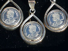 Queen Liliuokalani Of Hawaii Earring & Necklace Pendant Set Silver R.H.M.