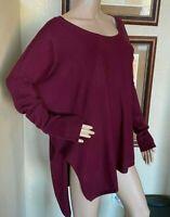 Charlotte Russe Womens Burgundy Stretch Knit Sweater Tunic Top Plus sz 3X