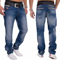 Herren Denim Jeans dunkelblau Stone Washed Relaxed Fit Knopfleiste
