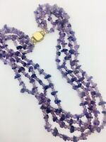Gorgeous 4 Strand Amethyst Beaded Necklace Gold Filled Clasp Vintage Jewelry