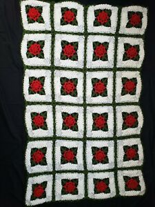Handmade Crochet Knit Afghan of 3D Red Rose Flower Quilt Couch Lap Throw Blanket