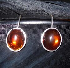 """Drop French Wire Back Earrings 7/8"""" Stunning Estate Sterling Silver Yellow Amber"""