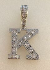 9ct Gold Rhodium Plated Cubic Zirconia Set Initial K Pendant  4.3cms  6.1g  NEW