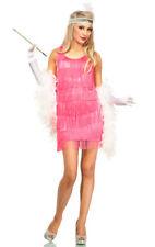 Ladies 20's 1920s PINK Fringe Short Flapper dress Gatsby Costume size M/L 10 12