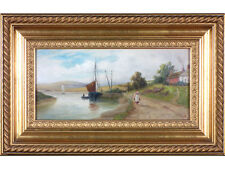 19th Century British School, 'By The Estuary'. Gallery Provenance. Oil on board