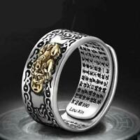 Pixiu Charms Ring Feng Shui Amulet Lucky Wealth Buddhist Jewelry Adjustable Ring