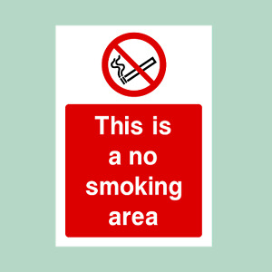 No Smoking Area - All Sizes - Plastic Sign/Sticker (PS50)