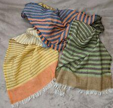 "Ahujasons Anthropologie Multicolor Striped Wool Scarf 70"" x 18.5"" Fringe EUC"