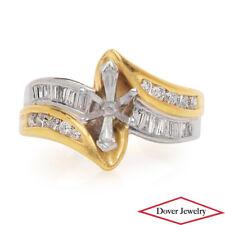 Estate Diamond 18K Yellow Gold Platinum Engagement Mounting Ring 9.2 Grams NR