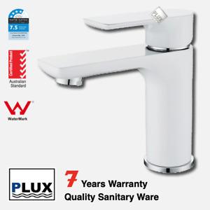PLUX High Quality Bathroom Round White & Chrome Basin Mixer -Tap Mixer-Faucet