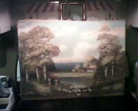 Antique oil painting Country Scene signed
