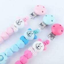 Baby Pacifier Clip Bear Beads Wooden Holder Dummy Soother Pacifier chain