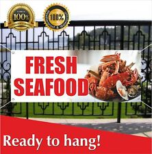 FRESH SEAFOOD Banner Vinyl / Mesh Banner Sign Flag Crabs Squid Restaurant Clams