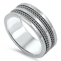 Men's Wedding Ring New 316L Stainless Steel Rope Chain Inlay Band Sizes 7-14