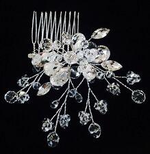HAIR COMB Rhinestone Crystal Wedding Bridal Dancer French Twist Flower Silver 07