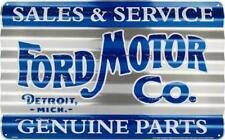 "FORD MOTOR CO CORRUGATED METAL SIGN 18X12"" SALES & SERVICE PARTS TIN RETRO MICH"