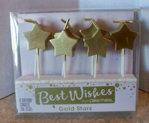 Lot of 48 Gold Star Birthday Candles 6 Packages of 8