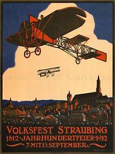 EXHIBITION AIRSHOW AVIATION BIPLANE CENTENARY GERMANY VINTAGE AD POSTER 1659PYLV