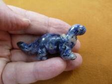 (Y-Din-Br-570) Blue Apatosaurus dinosaur Brontosaurus carving Figurine Gemstone