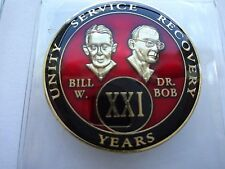 AA Tri-Plate Alcoholics Anonymous Red Black Gold Coin 21 Year Medallion Bill&Bob