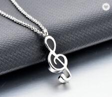 Anhänger Notenschlüssel Note silber schwarz Musik Töne Edelstahl inkl Kette.