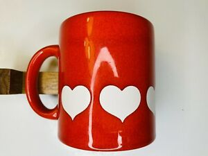 Waechtersbach Red Coffee Mug with Large White Hearts - West Germany - Vintage