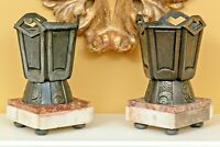 Pair of Diminutive Art Deco Bronze Vases on Marble Bases