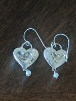 Vintage SILPADA 925 Sterling Silver Pearl Heart ❤️ Dangle Drop Pierced Earrings