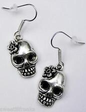 SUGAR SKULL SILVER EARRINGS! DAY OF THE DEAD MUERTOS MEXICAN ROCKABILLY GOTHIC